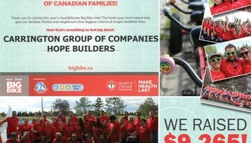 Hope Builders' Big Bike Ride Raises $9265 for the Heart and Stroke Foundation